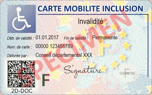 """Face recto d'une carte mobilité inclusion """"invalidité"""""""